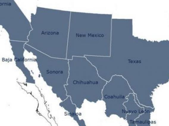 A political map of the states of the US - Mexico border region