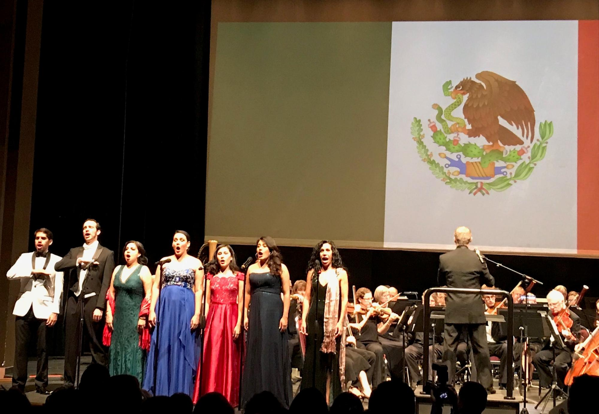 Singing of the Mexican National Anthem at a concert