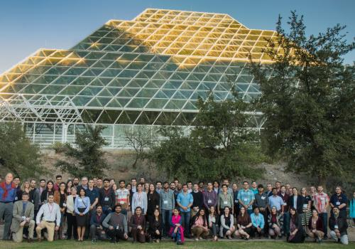 Group photo at Biosphere 2 of the attendees of the 2018 Arizona Student Energy Conference